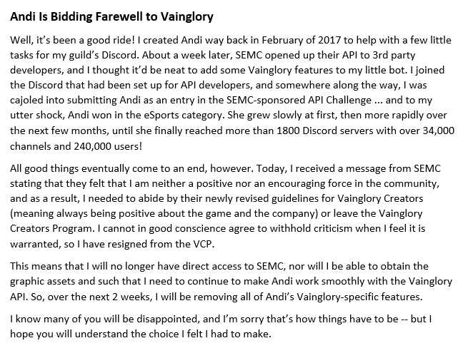 Andi is Bidding Farewell to Vainglory - Out-of-Game